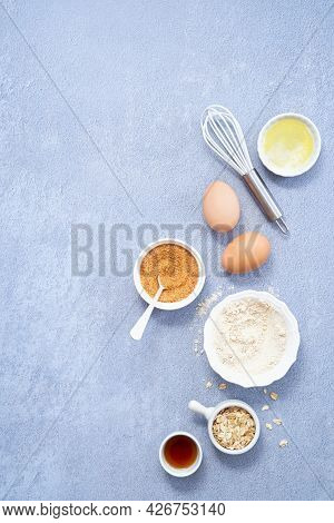 Food Background, Ingredients For Homemade Oat Pancakes With Whole Grain Oat, Coconut Sugar, Vanilla
