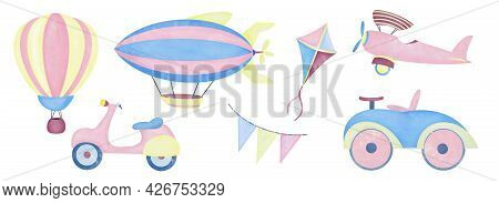 Watercolor Aquarelle Set For Kids Children. Hot Air Balloon Aerostat Scooter Airship Airplane Car Ki