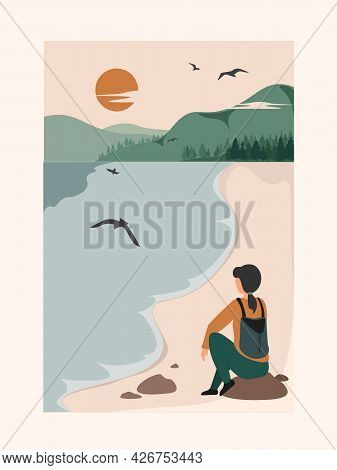 Landing Page Of The Female Backpacker Is Traveling Alone And Walking On The Road. Concept Of Freedom