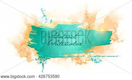 Beautiful Delicate Abstract Grunge Background. Ink Stain Spreads Over The Watercolor Paper.
