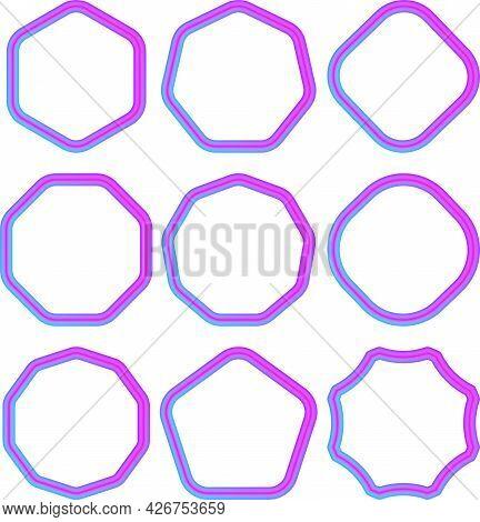 Set Of Geometric Gradient Frames. Simple Shapes, Bright Colors.
