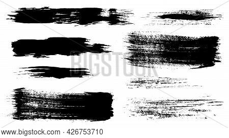 Set Of Vector Brush Strokes. Watercolor Stains, Ink Blots.