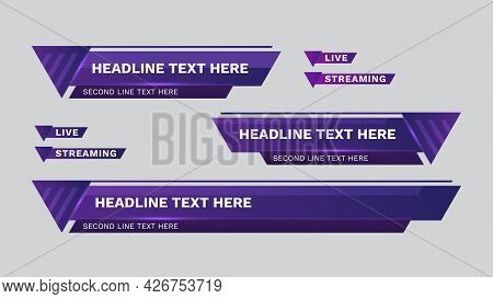 Lower Third Vector Design With Purple Color. Headline Breaking News Template.