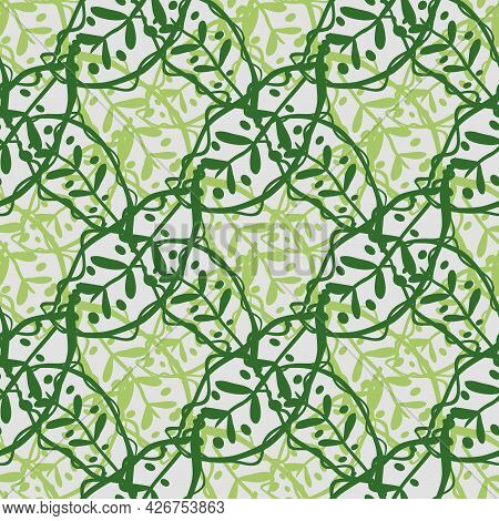 Abstract Calathea Leaf Vector Seamless Pattern Background. Stylised Linocut Effect Green Tropical Fo
