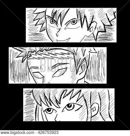Japanese Manga Boy Face. Vector Design For T-shirt Graphics, Banner, Fashion Prints, Slogan Tees, St