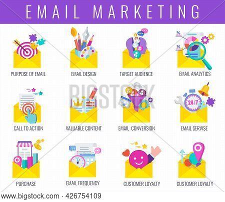 Email Marketing Strategy Icons Set. Digital Marketing.