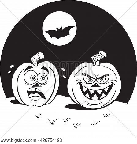 Black And White Illustration Of Two Jack O Lanterns Under A Full Moon With A Flying Bat.