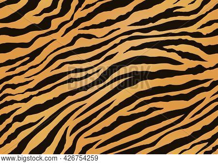 Horizontally And Vertically Repeatable Tiger Skin Seamless Vector Illustration. Exotic Animal Skin P