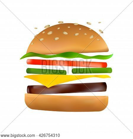 Floating Burger With Flying Ingredients: Pickles, Tomato, Cheese, Beef Patty, Lettuce, Toasted Sesam