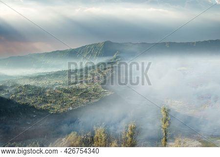 Cemoro Lawang Village At Mount Bromo In Bromo Tengger Semeru National Park. Morning View Of Cemoro L