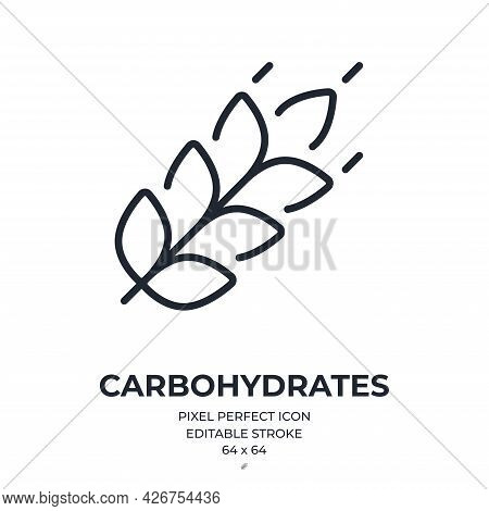 Carbohydrates Editable Stroke Outline Icon Isolated On White Background Flat Vector Illustration. Pi