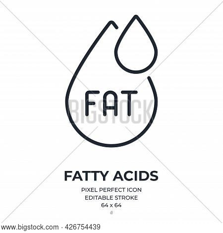 Fatty Acids Editable Stroke Outline Icon Isolated On White Background Flat Vector Illustration. Pixe