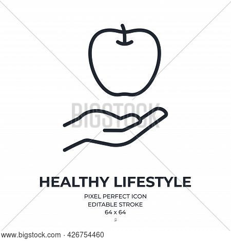 Healthy Lifestyle Concept Editable Stroke Outline Icon Isolated On White Background Flat Vector Illu