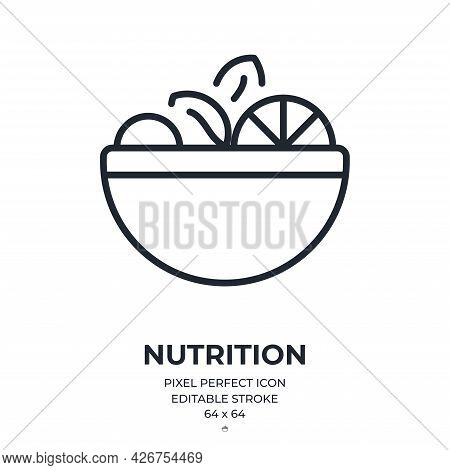 Nutrition Editable Stroke Outline Icon Isolated On White Background Flat Vector Illustration. Pixel