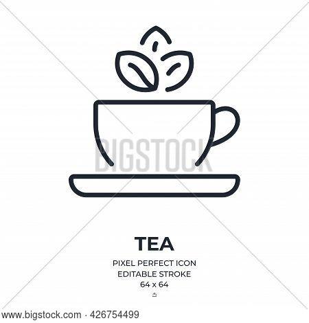 Tea Editable Stroke Outline Icon Isolated On White Background Flat Vector Illustration. Pixel Perfec
