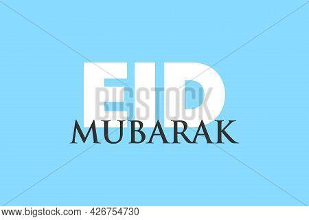 Celebrate Happy Eid Mubarak Festival. Eid Mubarak Typography Text On Blue Background.