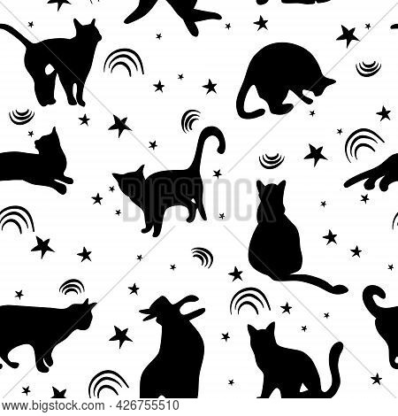 Seamless Pattern With Sketch Cats Among Stars.black Kittens Silhouettes.feline In Different Poses.an