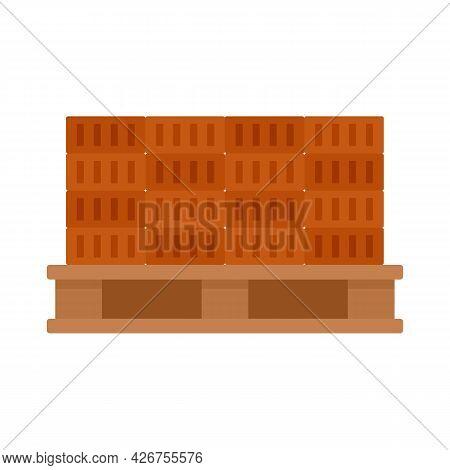 Bricks On Pallet Icon. Flat Illustration Of Bricks On Pallet Vector Icon Isolated On White Backgroun
