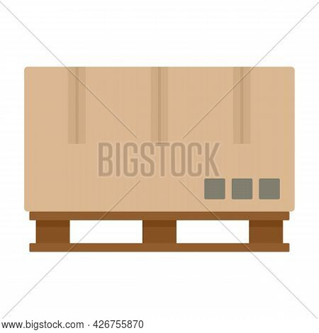 Carrier Box Pallete Icon. Flat Illustration Of Carrier Box Pallete Vector Icon Isolated On White Bac