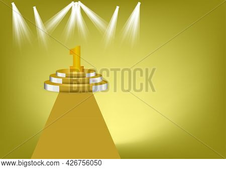 Number 1 Gold Color On Gold Podium Is The Winner Is In First Vector Illustration With Gold Color Bac