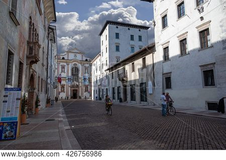 Trento, Italy, June 2021. One Of The Historic Buildings In The Center Is Characterized By A Finely F