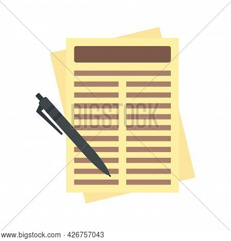 Leasing Report Paper Icon. Flat Illustration Of Leasing Report Paper Vector Icon Isolated On White B