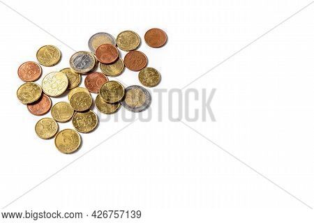 Euro Cents. Coins On A White Background. Money And Business Concept. High Quality Photo