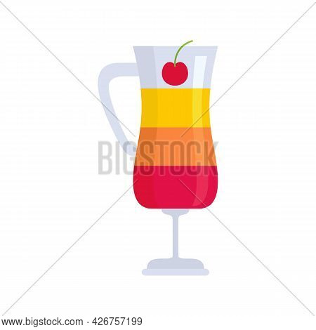 Fruit Cocktail Icon. Flat Illustration Of Fruit Cocktail Vector Icon Isolated On White Background