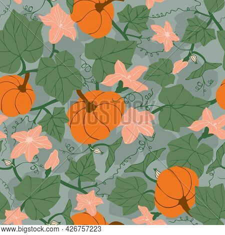 Seamless Pattern With Pumpkins, Flowers And Leaves. Colorful Botanical Background With Pumpkin Plant