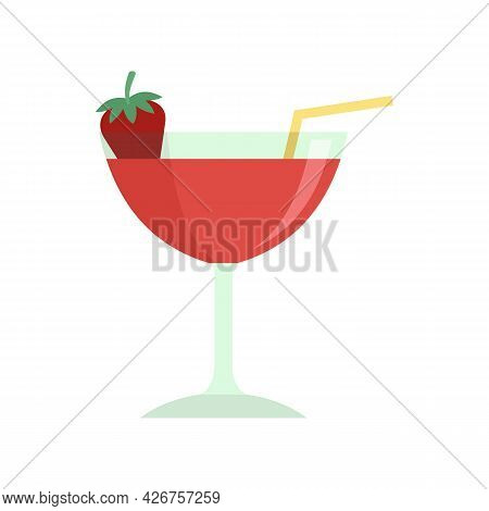 Strawberry Cocktail Icon. Flat Illustration Of Strawberry Cocktail Vector Icon Isolated On White Bac