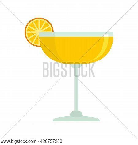 Orange Fruit Cocktail Icon. Flat Illustration Of Orange Fruit Cocktail Vector Icon Isolated On White