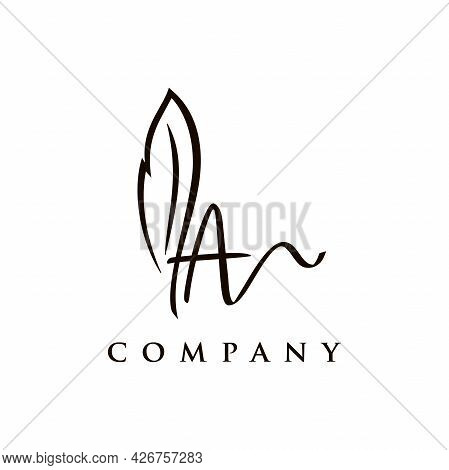 Simple And Elegant Illustration Logo Design Initial A Signature Combine With Feather Pen.