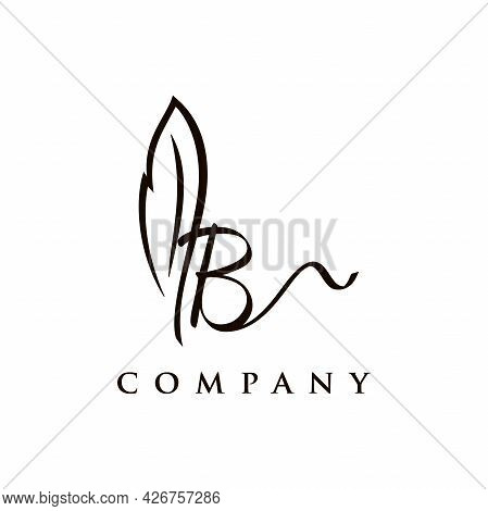 Simple And Elegant Illustration Logo Design Initial B Signature Combine With Feather Pen.