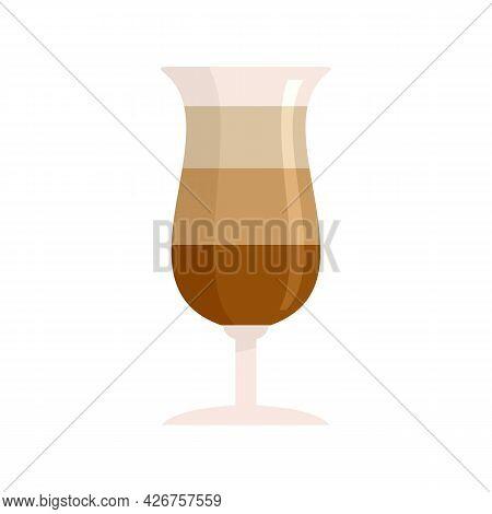 Chocolate Cocktail Icon. Flat Illustration Of Chocolate Cocktail Vector Icon Isolated On White Backg