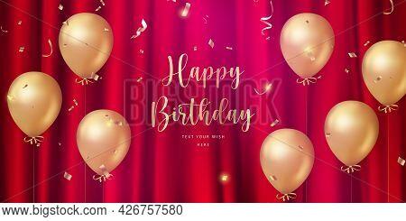 Elegant Luxury Golden Ballon And Red Silk Curtain Background Happy Birthday Celebration Card Banner