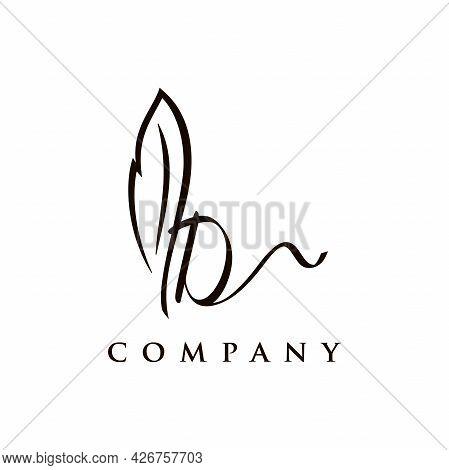 Simple And Elegant Illustration Logo Design Initial D Signature Combine With Feather Pen.