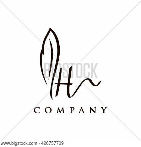 Simple And Elegant Illustration Logo Design Initial H Signature Combine With Feather Pen.