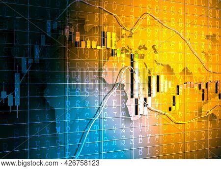 Candlestick Stock Exchange Background With Machine Code