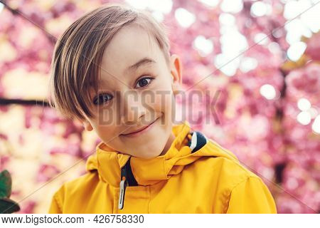 Smiling Preteen Boy Looking To Camera. Face Emotions, Expression. Cute Boy Wearing Stylish Outfit At