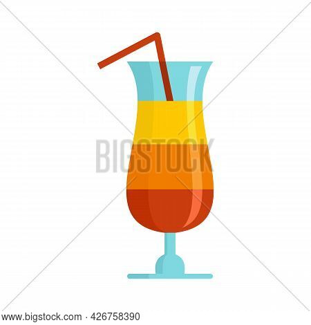 Summer Cocktail Icon. Flat Illustration Of Summer Cocktail Vector Icon Isolated On White Background