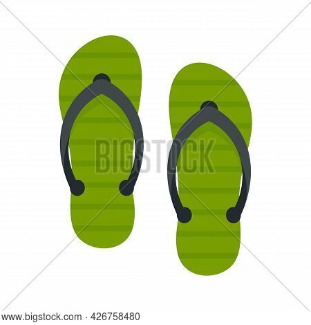 Beach Slippers Icon. Flat Illustration Of Beach Slippers Vector Icon Isolated On White Background