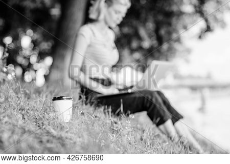 Coffee Break On Fresh Air Concept. Caffeine Power Of Nature. Energy Charge And Refreshment. Coffee C