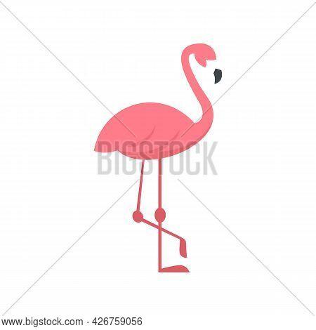 Pink Flamingo Icon. Flat Illustration Of Pink Flamingo Vector Icon Isolated On White Background