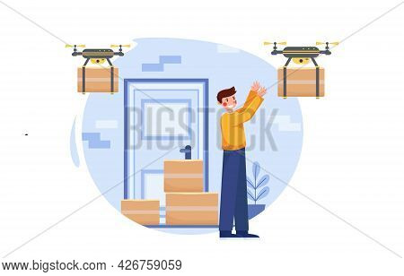 Contactless Delivery Drones. Contact Free Delivery Icon. The Drone Delivers The Package. Stay Home C