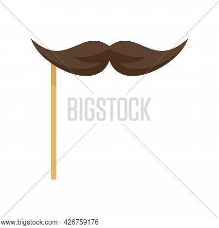 Mustache On Stick Icon. Flat Illustration Of Mustache On Stick Vector Icon Isolated On White Backgro
