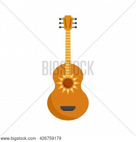 Mexican Guitar Icon. Flat Illustration Of Mexican Guitar Vector Icon Isolated On White Background