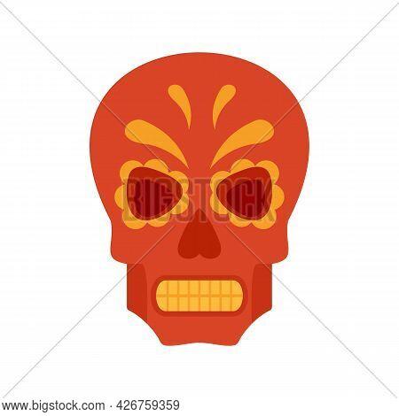 Halloween Mexican Skull Icon. Flat Illustration Of Halloween Mexican Skull Vector Icon Isolated On W