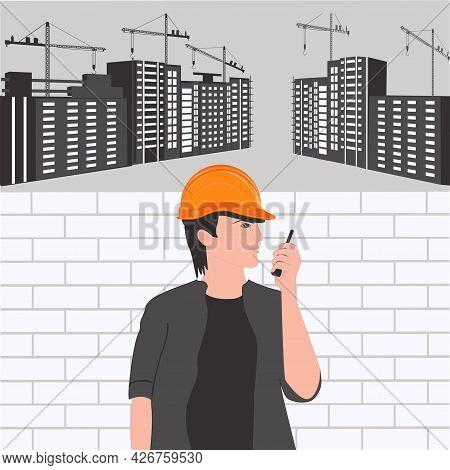 Builder In Hard Hat, Buildings, Construction Cranes - Vector. Poster. Banner. Builder's Day.