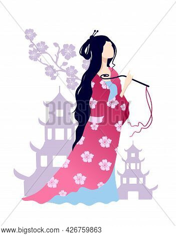 Asian Girl In National Clothes. The Image Of A Chinese Girl On A Background Of A Pagoda And Flowers