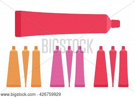 Plastic Cosmetic Tube, Toothpaste Bottle Empty Orange, Pink, Red Set. Small Cap Makeup Cream Storage